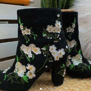 top shop black embroidered flower boots